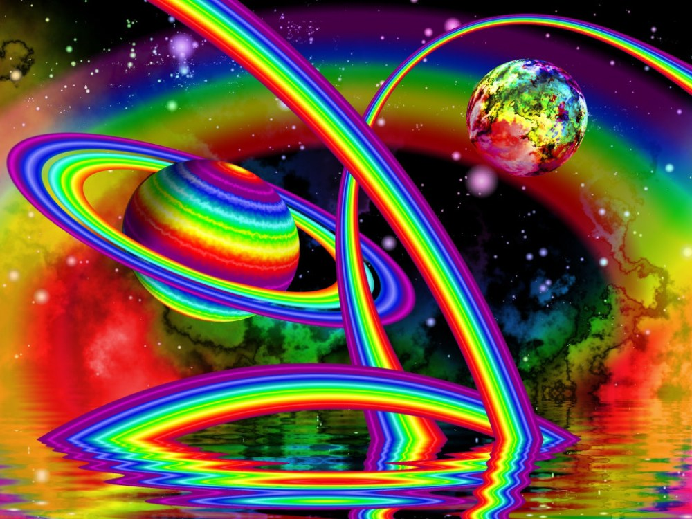 background rainbow universe with saturn